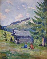 G (Gerhard-?) OTTE (XX.) Aquarell 1923: WANDER-PAUSE AN DER HÜTTE IM SCHWARZWALD
