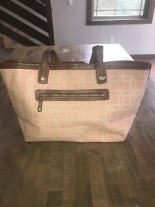 Liz Claiborne Pink White Brown Hobo Satchel Tote Purse Handbag