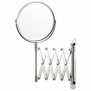 SWIVEL WALL MOUNTED MAGNIFING EXTENDABLE SHAVING MAKE UP MIRROR BATHROOM CHROME