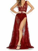 Women's Sexy See-through Lace Dress Sides Split Maxi Dresses Club Party Bodycon