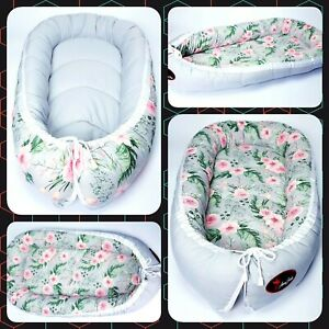 BABY NEST POD COCOON normal size 0-6 m HIGH QUALITY pink flowers on grey