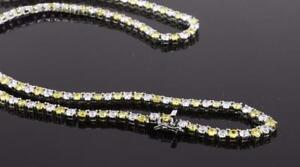 Stainless Steel Jewelry Yellow/White Cubic Zirconia Tennis Necklace NM1004RD424