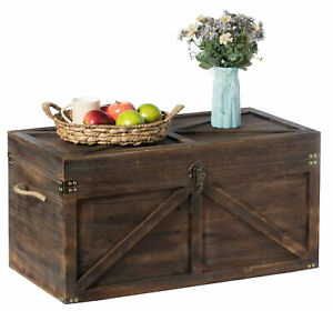 Wooden Trunk Farmhouse Style Rustic Design Lined Storage Chest with Rope Handles