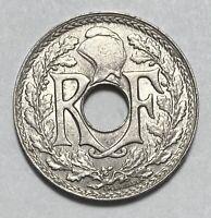 1917 France 5 Centimes Copper-Nickel World War 1 Era Circulated Coin Y#71  (818)