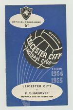 Orig.PRG / Programm  26.10.1964   LEICESTER CITY - HANOVER 96  !!  SEHR SELTEN