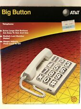 NEW AT&T Big Button Corded Telephone White 1991 Basic Desk or Mount