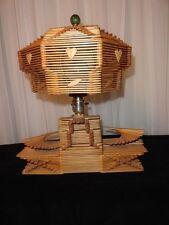 Vintage Folk Tramp Art  Wooden Popsicle Stick Table Lamp Light and Octogen Shade