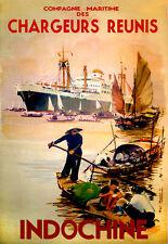 Repro Affiche compagnie maritime des Chargeurs Réunis - Indochine