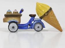 Lot 2 Limoges France Ice Cream Cone + Ice Cream Bicycle Trinket Boxes Peint Main