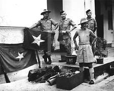 Gurkha Soldiers Displaying Japanese War Loot Flags Guns WWII Photo FL88