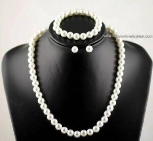 """1 Faux Pearl Set:Necklace+Bracelet+Pierced Earrings 18"""" white, off white, black"""