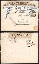 STORIA POSTALE SVIZZERA 1917 da Zurigo a Venezia in Franchigia (FSD)