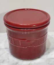 Longaberger Pottery Woven Traditions Paprika 1 Pint Crock with Coaster Lid