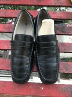 Boys Penny Loafers Black Dress Shoes Size 2  Slip On School Holiday Leather EUc
