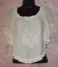 $55 HOLLISTER SMALL EMBROIDERED CROP BLOUSE IVORY KNIT RUFFLE BELL SLEEVE TOP