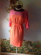 Attention Women Pink Cold Shoulder Sleeve Casual Elastic Waist Dress Size Small