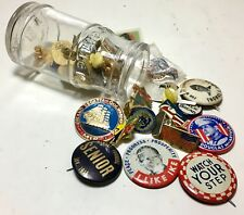 Lot 32 Vintage 1950s-90s Pins Pin Backs Collection Travel Union Made Political +