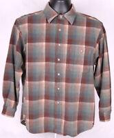 Pendleton Wool Plaid Shirt-L-Pure Wool-Brown Green-Lined Collar-Trail Shirt