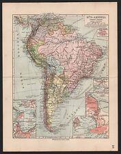 Landkarte map 1912: SÜD-AMERIKA POLITISCHE ÜBERSICHT. Maßstab: 1 : 30.000.000