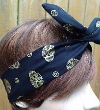 Wire Headband Dolly Bow Gold Sugar Skulls Print Bandanna Rockabilly Scarf