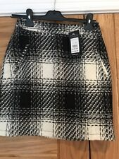 Mini Skirt From New Look Tweed Fabric In Black And White Check Size 8