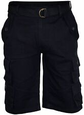 Mens Belt Bermuda Cotton Combat Cargo Pocket Work Shorts Casual Pants Black 36