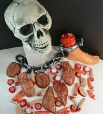 HALLOWEEN PROPS -BODY PARTS-Skull-Fingers-Organs-Eyeballs-Foot w/Chain-Brain-Ear