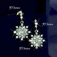 18K WHITE YELLOW GOLD GF MADE WITH SWAROVSKI CRYSTAL STUD SNOWFLAKE EARRINGS