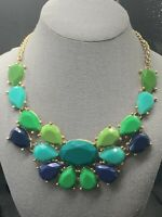 Turquoise,Blue,And Pea Green Gold Bohemian Bib Statement Necklace