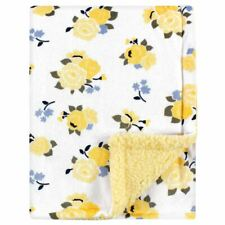 Luvable Friends Girl Mink Blanket with Sherpa Backing, Yellow Floral