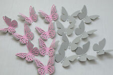 16 Set 3D Schmetterlinge hell Grau Rosa Wandtattoo Wanddeko