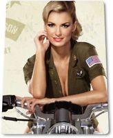 Hot Rider Pinup Girl Sexy Combat Military Man Cave Gun Wall Decor Metal Tin Sign