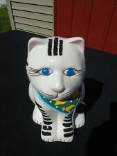 Cat Cookie Jar  wearing scarf with mice