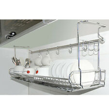 Stainless Space Under Shelf  Dish Drying Rack Drainer Dryer Tray Storage