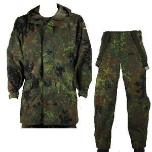 German Army Flecktarn Military Goretex Waterproof Rain Jacket Trouser Over Suit