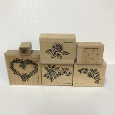 Vintage 1992 Stampin Up Rubber Stamp Set of 6 Single Rose Vine Wreath Polka Dots