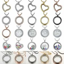 Charm Living Memory Floating Family Locket Heart Round Glass Pendant Necklaces