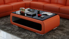 Leather Coffee Table Modern Glass Design Living Room CT9010o