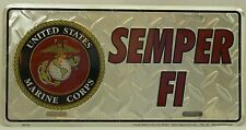 SEMPER FI LICENSE PLATE Marines USMC Embossed Aluminum NEW Armed Forces Car USA