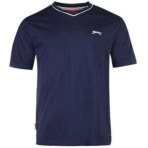 [Medium] Slazenger V Neck T-Shirt Mens Navy Top Tee Shirt