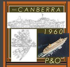 RMS CANBERRA 1960 P&O Lines: Complete Retractable GA Deck Plans & Profile!