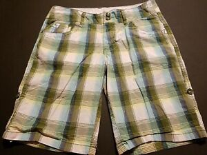 Justice Girls Shorts Size 12 Roll Up Olive/Aqua/White Plaid Sparkle H1715