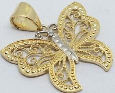"1"" 14K SOLID REAL GOLD Butterfly Pendant Charm filigree Yellow White 2 Tone 2.7g"