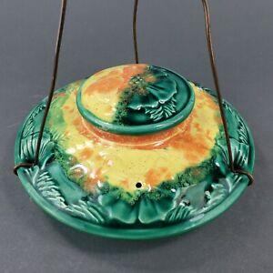 Vintage Ceramic Hummingbird Feeder Copper Hanger Handmade