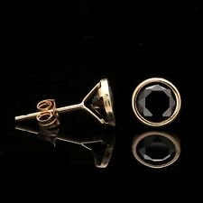 2 CT Created Black Diamond Round Bezel Earrings 14K Real Yellow Gold Studs Round