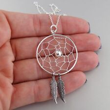 Large Dream Catcher Necklace - 925 Sterling Silver - Dreamcatcher Feathers NEW