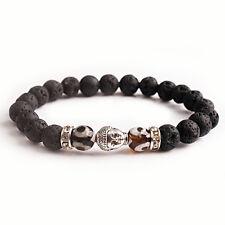 Men Yoga Bangle Natural Eye Energy Lava Stone Beads Bracelet Sliver Buddha