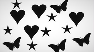 vinyl Sticker Stars, Love Heart,Butterfly,  decal / room decor