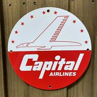 VINTAGE CAPITAL AIRLINES PORCELAIN METAL SIGN USA AIRPLANE ADVERTISING GAS OIL
