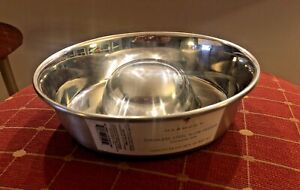 """NEW 7.5"""" Non-Skid Slow Feeding DOG BOWL Stainless Steel Metal Pet Dish Food Feed"""
